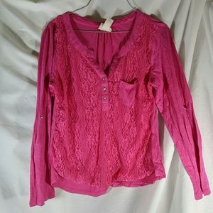 Self Esteem XL Pink Lace Front Top with pocket